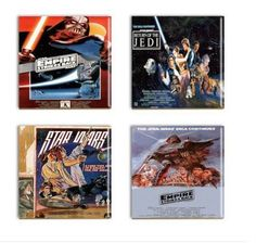 Popular science fictionStar Wars ceramic sublimateddrink coasters with assorted movie poster images such as:  Return of Jedi, two assorted Empire Strikes Back and Star Wars  The famous science fiction movie poster images are permeated into the 4 1/4 square white ceramic tiles with a sublimation dye. The images will will never fade or flake off.  The images are permanent as they have become part of the tile itself.  You will not have to worry about sweating cold glasses or hot coffee cups...