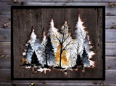 Made on reclaimed wood this piece measures at 20x16 and is the perfect image of a foggy forest. Ships within 1-2 business days.