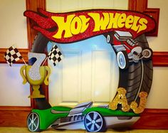 Hot Wheels photo frame prop for pictures with guests