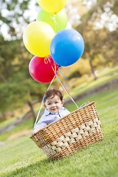 6 month baby photo idea. Balloons and basket in the park www.tearbearpix.com