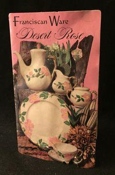 Authentic Vtg Franciscan Desert Rose Catalog Brochure Advertisement Pamphlet Ad   eBay Desert Rose Dishes, Franciscan Ware, Vintage Pottery, Interior And Exterior, Deserts, Decorative Plates, Catalog, Collections, Valentines