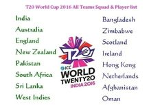 ICC T20 World Cup 2016 All Teams Squad All Players Name