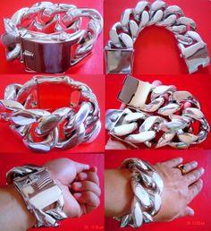 680 grams huge bracelet. / pulserón enorme de 680 gramos - solid huge chunky massive fat wide bracelet chain - pulsera esclava cadena enorme tocho masivo gordo ancho macizo de plata.