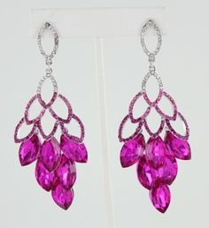 pageant earrings S-Fuchsia #lmbling #lmblingearrngs #lmblingfuchsiaearrings #lmblinghotpinkearrings #lmblingstatementearrngs #pageantearrings #fuchsiapageantearrings  #hotpinkpageantearrings #lmblingchandelierearrings #chunkyearrings #pageantjewelry #promjewelry