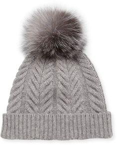 33c39ffd6d4 Sofia Cashmere Staghorn Cable Knit Hat w  Fur Pompom