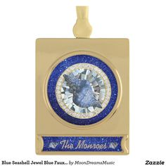 #BlueSeashell #Jewel #BlueFauxGlitter #GoldBannerOrnament by #MoonDreamsMusic #ChristmasByTheBeach #ChristmasOrnament