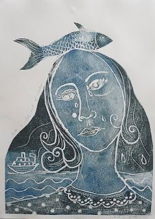 I remember doing this with Styrofoam in grade! Pinner said: Like a Fish out of Water, styrofoam print on paper, all images copyright of Judith Logan Art Art And Illustration, Linocut Prints, Art Prints, Block Prints, Fish Art, Art Plastique, Art Techniques, Art Tutorials, Art Lessons