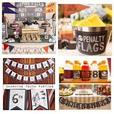 Football Birthday / Sports Party-In-A-Box by Charming Touch Parties. Deluxe and boutique 5 piece box. Customizable. by CharmingTouchParties on Etsy