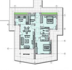 Proiect casa cu doua dormitoare Small House Design, Floor Plans, Design For Small House, Small Home Design, Floor Plan Drawing, House Floor Plans