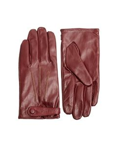 Image 1 of French Connection Contrast Stitch Wine Leather Gloves