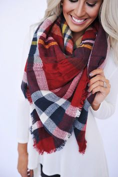 Blanket Scarf- Red/Yellow - Dottie Couture Boutique
