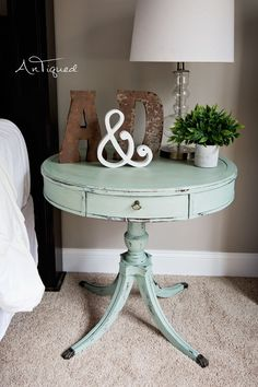 Large Drum Table Chalk Painted in a light aqua! Shabby Chic Decor. #countryshabbychicdecor