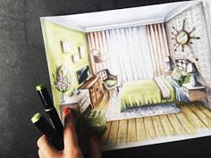 Guest Bedroom by Natalia-Pristenskaya Interior Architecture Drawing, Interior Design Renderings, Drawing Interior, Interior Rendering, Interior Sketch, Best Interior Design, Cafe Interior, Architecture Design, Architect Sketchbook