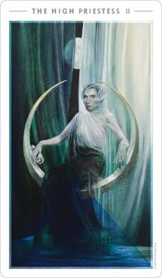 The High Priestess | The Fountain Tarot I need a new tarot deck so bad. This one really syncs with me. It's so calming and ethereal.