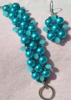 Materials:  For 7 inch Bracelet     6mm Turq. Glass Pearls (approx. 47)   4mm Opaque Turq. Rondelles (approx. 31)   11/o Turq. Silver Lined Seed Beads   #6 or #8 Fireline   2 Size 12 Beading Needles   Clasp  Time required: About 1 hours  Techniques: Two Needle Right Angle Weave  Difficulty: Easy
