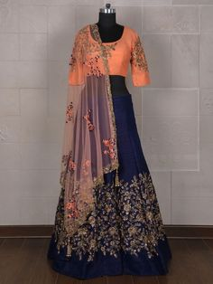 Peach And Navy Silk Lehenga Choli, peach color, silk, wedding Rajasthani Lehenga, Indian Bridal Lehenga, Indian Bridal Fashion, Pakistani Bridal Wear, Lehenga Style, Red Lehenga, Party Wear Lehenga, Lehenga Choli, Sarees