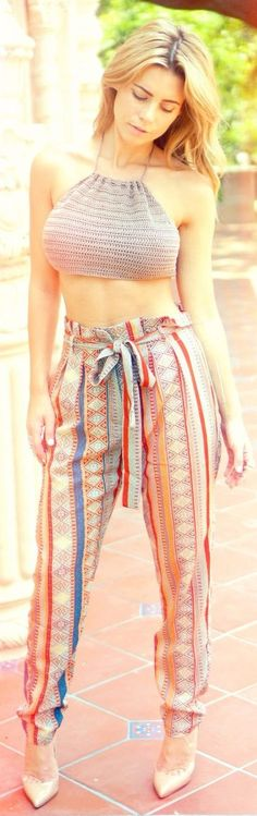 Forever 21 Multi Silky Striped Abstract Geometric Print Pants by Pearl Oyster