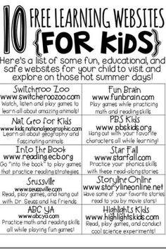 free learning sites for kids!free learning sites for kids! Learning Websites For Kids, Learning Sites, Fun Learning, Learning Activities, Learning Tools, Classroom Websites, Children Websites, Summer Activities, Preschool Websites