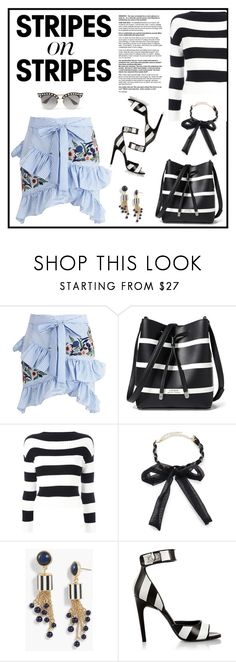 """""""Stripes on Stripes"""" by outfitsloveyou ❤ liked on Polyvore featuring WithChic, Lauren Ralph Lauren, Boutique Moschino, Ettika, Talbots, Givenchy and Gucci"""