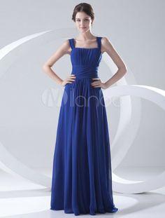 High Waist Royal Blue Chiffon Square Neck Fashion Bridesmaid Dress - Milanoo.com