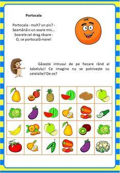Învățăm jucându-ne: Fructele - Logorici Kids Education, Fruits And Veggies, Romans, Preschool Activities, Kids And Parenting, Worksheets, Learning, Children, Crafts