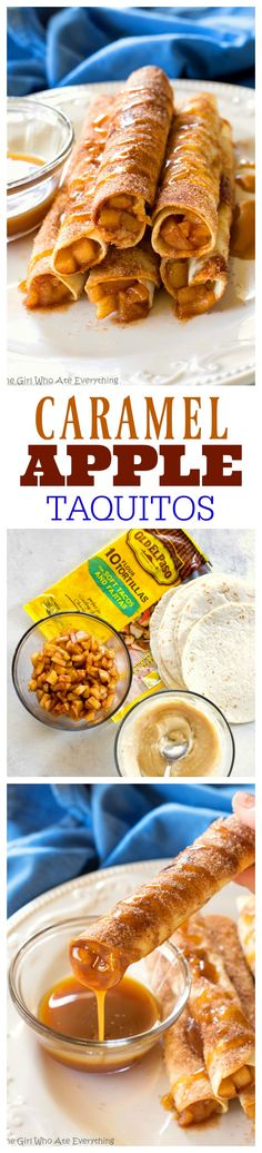 Creamy Caramel Apple Taquitos - filled with cinnamon apples, caramel, and cream cheese, rolled in cinnamon sugar and drizzled with caramel. the-girl-who-ate-everything.com