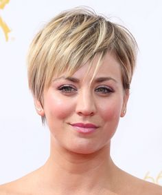 Kaley Cuoco Short Straight Hairstyle. Try on this hairstyle and view styling steps! http://www.thehairstyler.com/hairstyles/casual/short/straight/Kaley-Cuoco-emmy-awards-hairstyle