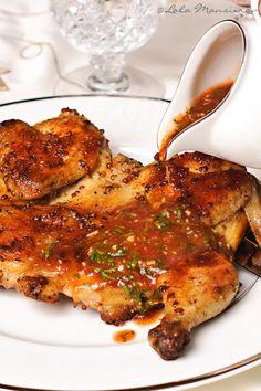 GEORGIAN Chicken Tabaka | pan fried chicken with bazhe sauce made from walnut, garlic herbs, red wine vinegar and pomegranite sauce