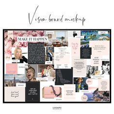 Create your very own vision board in your home or office with these printable elements. Whatever your dream, get inspired, get motivated, and Make It Happen! Vision Board Template, Vision Board Ideas Diy, Vision Boards Examples, Digital Vision Board, Goal Board, Creating A Vision Board, Visualisation, Wedding Planners, Instagram