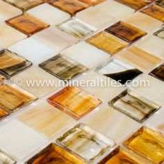 Mineral Tiles - Stained Glass Mosaic Tile Amber 1x1, $19.79 (http://www.mineraltiles.com/stained-glass-mosaic-tile-amber-1x1/)