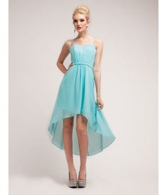 This delicately pleated chiffon gown features a high-low skirt, spaghetti straps, and a subtle waist band.......Price -                                       $49.00                -aZgOzwfH