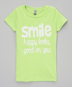 This Neon Green 'Smile' Tee - Girls by The Talking Shirt is perfect! #zulilyfinds