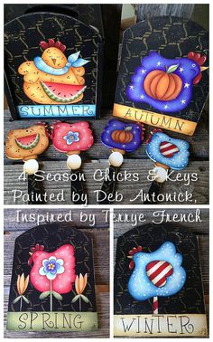 EPattern  4 Season Chicks and Keys by PaintingwithDeb on Etsy, $5.00