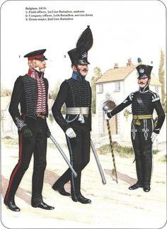 Ducato di Brunswick - Belgio, 1815 - 1) Ufficilae di Campo, 1° Battaglione di Linea, undress - 2) Ufficiale di Compagnia, Leib-Battalion, Uniforme di servizio - 3) Tamburino Maggiore, 2° Battaglione di Linea.