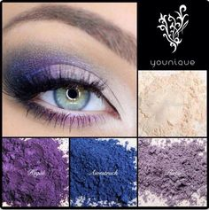 Purple and blue eyeshadow look using younique mineral pigments