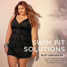 Find bust enhancing plus size swimwear for your next big adventure! Big And Beautiful, Beautiful Women, Swimwear 2015, Plus Size Swimwear, Plus Size Women, Tankini, Peplum Dress, Thighs, Curves