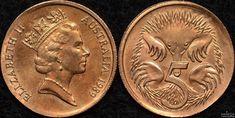 1989 Australian 5 cent struck on a 1 cent blank
