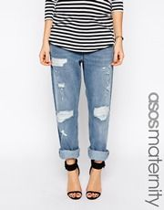 ASOS Maternity Low Slung Straight Jeans In Williamsburg Wash With NY Patches
