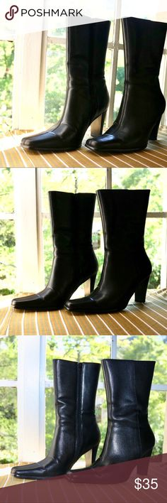 887f7fd3a I just added this listing on Poshmark: Vintage Black Leather Heeled Boots.  #shopmycloset