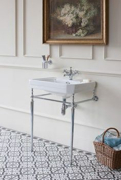 To add a vintage feel to your bathroom you need look no further than Burlington. This Victorian styled basin and stand creates a stunning regal feel to a bathroom. Accompany with matching bath, shower and sanitaryware for a luxurious bathroom suite. Downstairs Cloakroom, Downstairs Toilet, Upstairs Bathrooms, Cloakroom Sink, Victorian Bathroom, Vintage Bathrooms, White Bathrooms, Small Bathrooms, Bad Inspiration