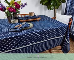 Dyed in rich indigo color pigment, our Nagina tablecloth is ideal for when you're entertaining and just as lovely beneath a simple family meal.