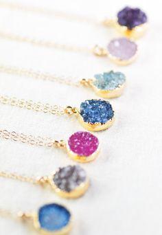Noelani necklace gold druzy pendant necklace by kealohajewelry