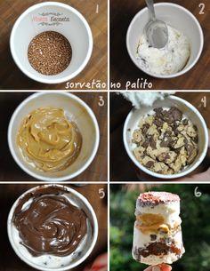 Sorvetão no Palito, camadas de sorvete, intercaladas por nutella, doce de leite na pressão, e pedacinhos crocantes de sonho de valsa com granulado belga.