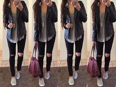 Czarne spodnie z dziurami - stylizacja  http://www.stylowkidlanastolatek.pl/czarne-spodnie-z-dziurami/