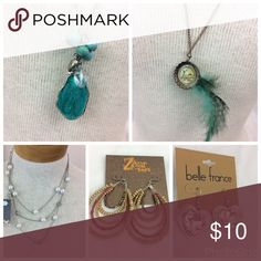 5 pc. Fashion Jewelry Bundle 3 necklaces (one new with tags) and two earrings (new with tags). Zero flaws. Please check out and bundle with more listings! Jewelry Necklaces