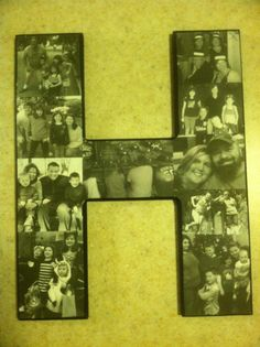 diy photo collage pictures printed in black white on plain computer paper cut secured to wooden letter with mod podge then sealed with mod podge