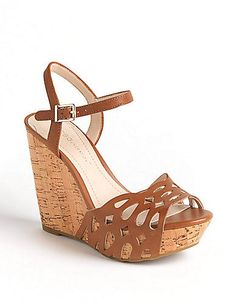 BCBG Paulina Leather Platform Wedge Sandals | Lord and Taylor