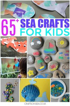 Zomervakantie - Knutselen - Loads of fun ideas for sea crafts for kids, including seashell crafts, seaside crafts, sensory activities, paper plate crafts and more. Camping Theme Crafts, Beach Themed Crafts, Ocean Crafts, Vbs Crafts, Preschool Crafts, Glow Crafts, Halloween Crafts, Seashell Crafts Kids, Beach Crafts For Kids