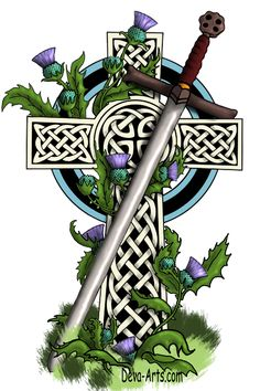 Seltic cross claymore and thistle