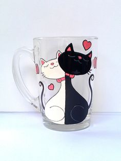 Cat Mug Couples Gift Love Mug Funny Mug. by PaintedglassbySveti